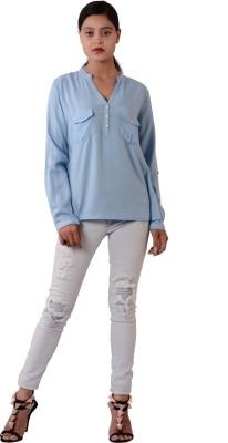 Fashnopolism Casual Full Sleeve Solid Women's Light Blue Top