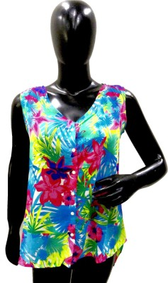 Pratham Style Beach Wear Sleeveless Floral Print Girl's Blue Top