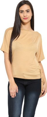 Why Knot Casual Short Sleeve Solid Women's Beige Top