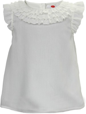 The Cranberry Club Casual Short Sleeve Solid Girl's White Top