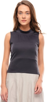 I Know Casual Sleeveless Solid Women,s Grey Top