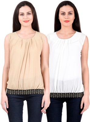 NumBrave Casual, Formal, Party Sleeveless Solid Women's Beige, White Top