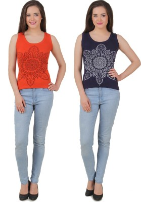 Yati Casual Sleeveless Printed Women's Blue, Orange Top