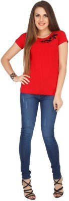 Pick Pocket Casual Short Sleeve Embroidered Women's Red Top