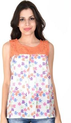 SHIBORI Casual Sleeveless Floral Print Women's Orange Top