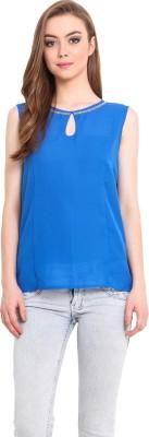 Femenino Casual Sleeveless Solid Women's Blue Top