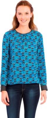 Vivante by VSA Casual Full Sleeve Printed Women's Blue Top
