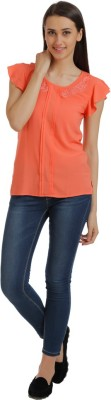 Holidae Casual Short Sleeve Solid Women's Orange Top