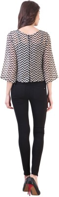 Vvine Party, Casual 3/4 Sleeve Chevron Women's Black Top