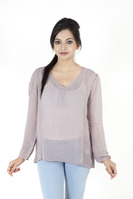 Kashana Fashions Casual Full Sleeve Floral Print Women's Purple Top