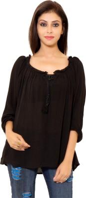 Eleganceranuka Party 3/4 Sleeve Self Design Women's Black Top