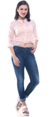 Lyla Casual Roll-up Sleeve Embellished Women's Pink Top