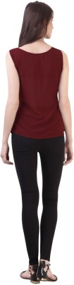 Vvine Party, Casual Sleeveless Solid Women's Maroon Top