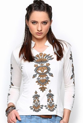 Paschime Casual 3/4 Sleeve Printed Women's White Top