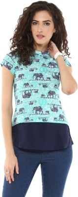 Magnetic Designs Casual Short Sleeve Printed Women's Green, Blue Top