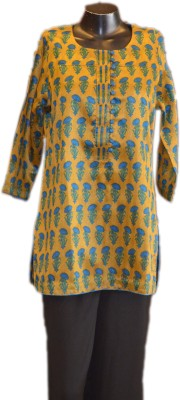 Xpression Casual Full Sleeve Printed Women's Yellow Top