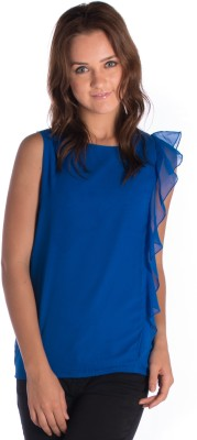 Miss Rich Casual Sleeveless Solid Women's Blue Top
