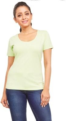 ELINA Casual, Party, Sports, Lounge Wear, Beach Wear Short Sleeve Solid Women's Green Top