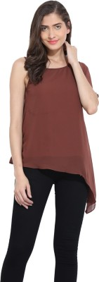 Ama Bella Casual Cape Sleeve Solid Women's Brown Top
