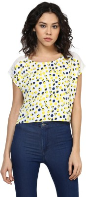 Roving Mode Casual Short Sleeve Polka Print Women's Multicolor Top