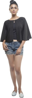 Sassystripes Party 3/4 Sleeve Solid Women's Black Top