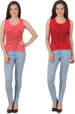 Yati Casual Sleeveless Printed Women's Red, Orange Top