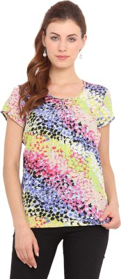 Paprika Casual Short Sleeve Printed Women,s Multicolor Top