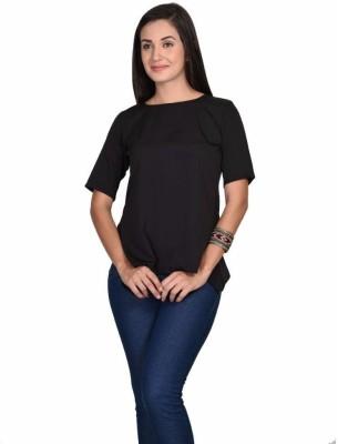 Teens & Queens Casual Short Sleeve Solid Women's Black Top