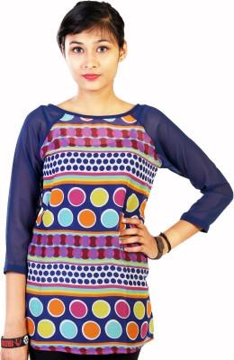 Aggana Casual 3/4 Sleeve Polka Print Women's Blue Top