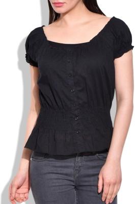 Eves Pret A Porter Casual, Sports Short Sleeve Self Design Women's Black Top