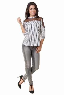 Modattire Casual 3/4 Sleeve Polka Print Women,s White, Black Top