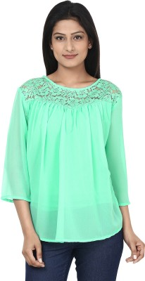 Anam Export Casual 3/4 Sleeve Solid Women's Light Blue Top