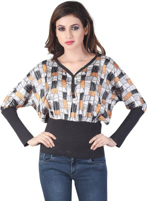 Bfly Casual Full Sleeve Printed Women's Black Top