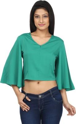 Gossip Girls Casual Full Sleeve Solid Women,s Green Top