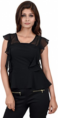 LA ATTIRE Casual Butterfly Sleeve Solid Women's Black Top