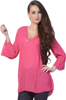 Trendy Divva Casual Full Sleeve Solid Women,s Pink Top