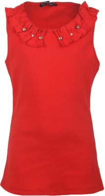 Cool Quotient Casual Sleeveless Solid Girl,s Red Top