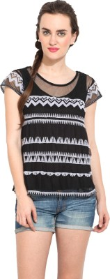 Rena Love Casual Short Sleeve Printed Women's Black Top