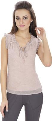 Lilium Casual Sleeveless Printed Women's Pink Top