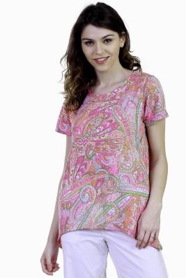 Caribbean Joe Beach Wear Short Sleeve Printed Women's Pink Top