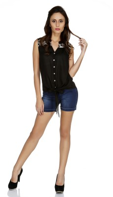 109F Casual Sleeveless Solid Women's Black Top