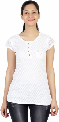 ASH Party Short Sleeve Solid Women's White Top