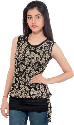 Membooz Casual, Party Short Sleeve Floral Print Women's Beige, Black Top