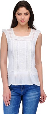India Inc Casual Cape Sleeve Embroidered Women's White Top
