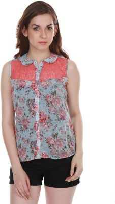 Colors Couture Casual Sleeveless Printed Women's Blue Top