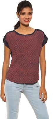 Pepe Casual Short Sleeve Geometric Print Women's Orange Top
