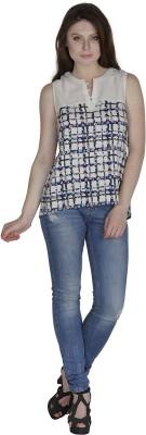 Divas Casual Sleeveless Checkered Women's Multicolor Top