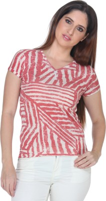Fast n Fashion Casual Short Sleeve Geometric Print Women's Red Top
