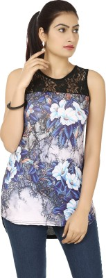 Urban Chic Casual Sleeveless Floral Print Women's Blue, Black Top