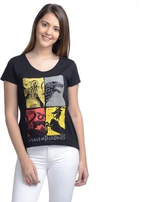 Game of Thrones Casual Short Sleeve Printed Women's Black Top